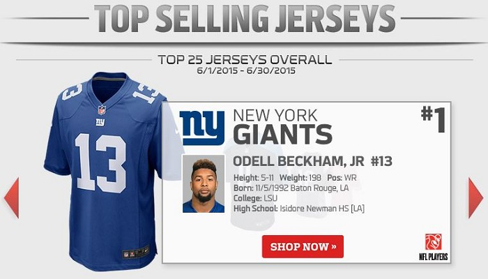 odell beckham top selling nfl jersey